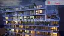 Prodej 2kk 65m2 P8 Karlín, Sokolovská, terasa 12,1 m2 novostavba gar. stání sklep